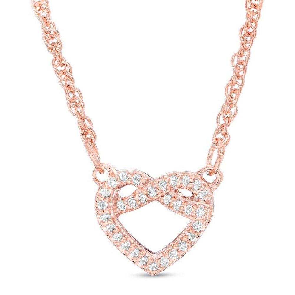 1/15 CT. T.W. Diamond Love Knot Heart Necklace in 10K Rose Gold - 17.6