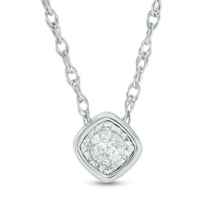 1/10 CT. Diamond Solitaire Tilted Cushion-Shaped Necklace in 10K White Gold