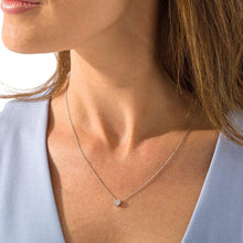 Load image into Gallery viewer, 1/10 CT. Diamond Solitaire Tilted Cushion-Shaped Necklace in 10K White Gold