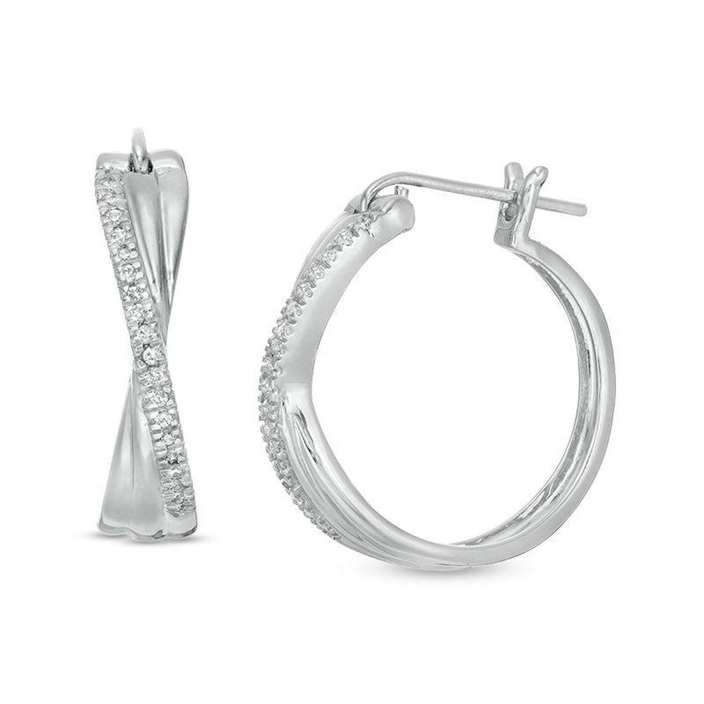 1/10 CT. T.W. Diamond Crossover Hoop Earrings in 10K White Gold