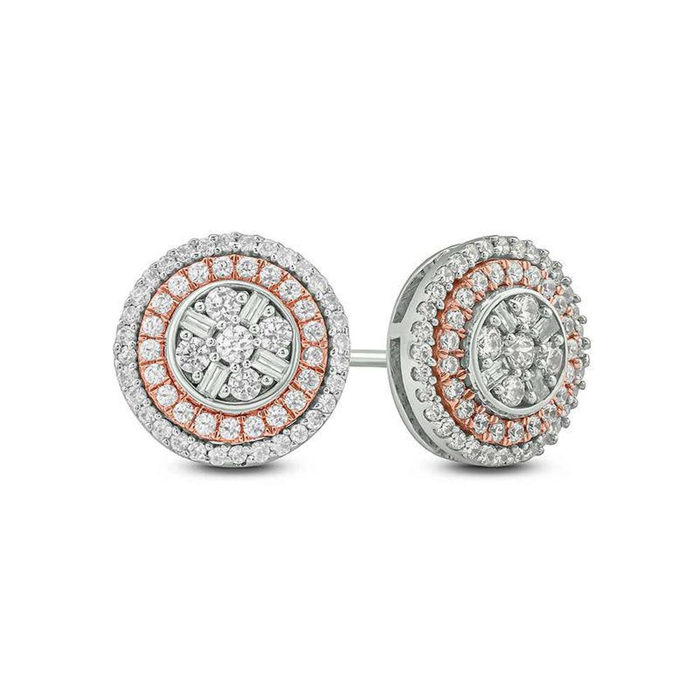 0ba2aa98dda75 Details about 1/2 CT Baguette & Round Diamond Double Stud Earrings 14K  Two-Tone Gold