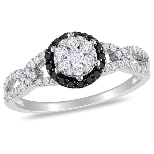 1/2 CT. T.W. Enhanced Black and White Diamond Frame Link Engagement Ring in 10K White Gold