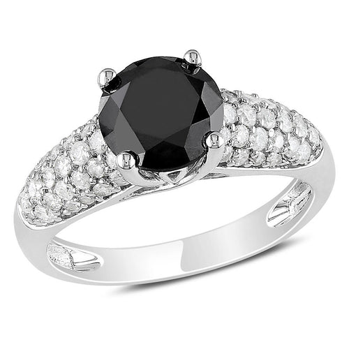 2 CT. T.W. Enhanced Black and White Diamond with Pavé Shank Engagement Ring in 14K White Gold