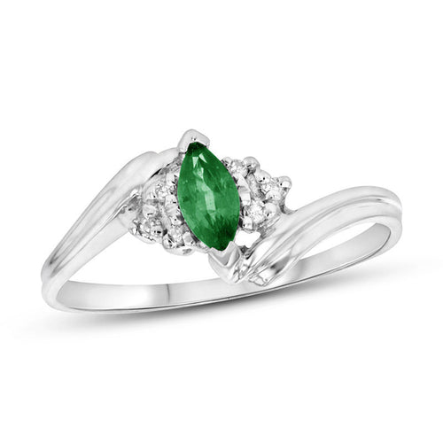 Marquise Emerald and 1/20 CT. T.W. Diamond Tri-Sides Bypass Ring in 14K White Gold