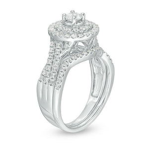 1 CT. T.W. Diamond Double Frame Bridal Set in 10K White Gold