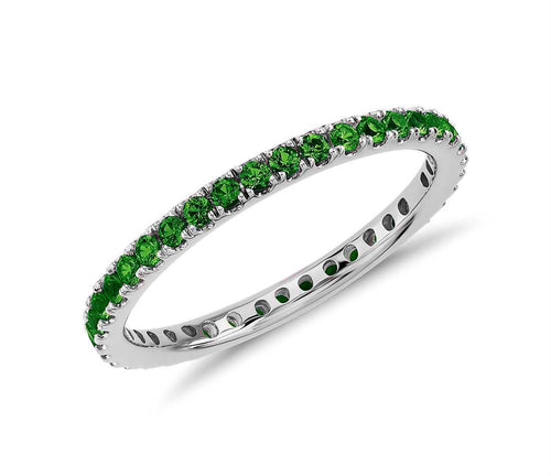 Created Green Emerald Gemstone Eternity Stackable Band Ring in 10k White Gold