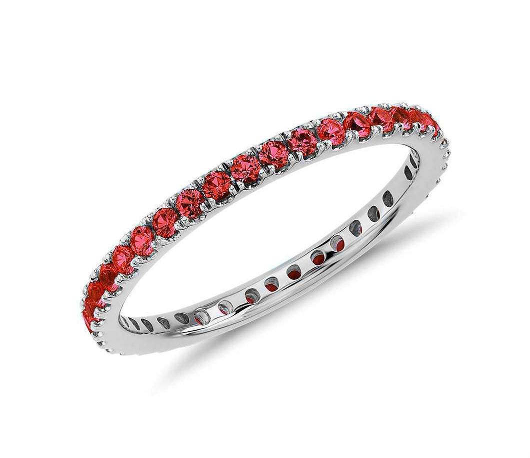 Created Red Ruby Gemstone Eternity Stackable Band Ring in 10k White Gold