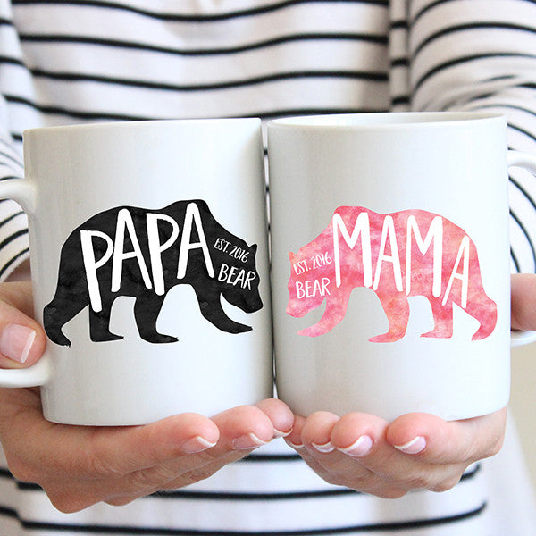 mama and papa bear coffee mug