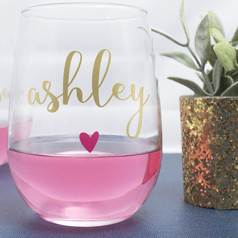 Custom Wine Glasses With Little Heart