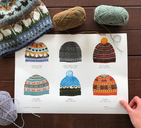 A3 Commemorative Shetland Wool Week Hat Print