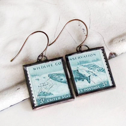 Vintage Wildlife Conservation Postage Stamp Earrings