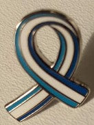 Parkinson's UK 3 colour stripe pin ribbon pin