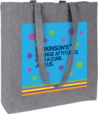 Parkinson's UK recycled cotton and plastic bag. Reduced for clearance.
