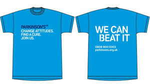 Parkinson's UK T-shirt  2 colour options, cyan blue and navy