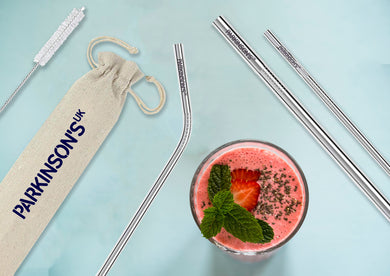 Parkinson's UK engraved metal straw set - pack of 3