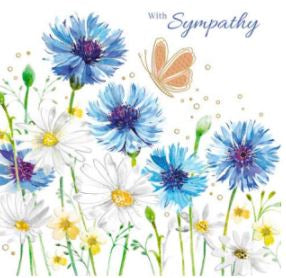 Daisies and cornflowers - with sympathy
