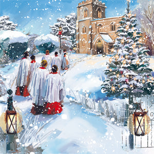 Parkinson's UK Christmas choir charity Christmas cards with bilingual greeting