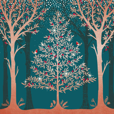 Parkinson's UK Tree and robins charity Christmas cards