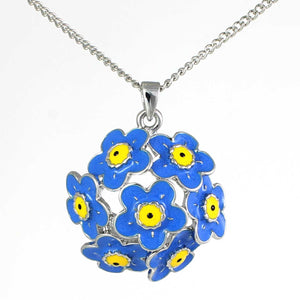 Pretty blue flower ball shaped pendant. Reduced for clearance.