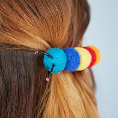 Felt caterpillar pom pom hair clip