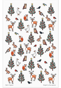 Winter Wildlife tea towel by Alison Gardiner