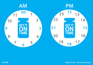 Get It On Time laminated clock poster (A4) - Parkinson's shop