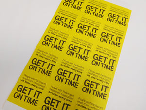 Get It On Time stickers (A5) - Parkinson's shop
