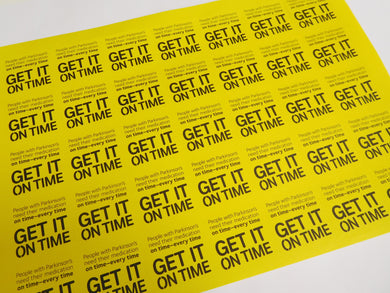 Get It On Time stickers (A4) - Parkinson's shop