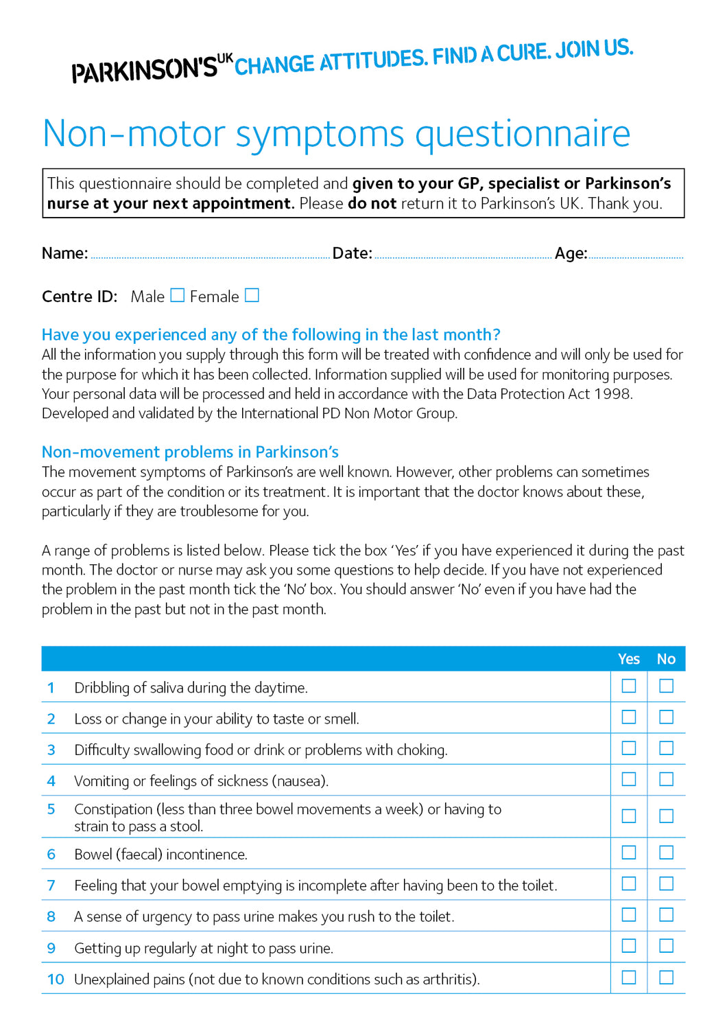 Non-motor symptoms (NMS) questionnaire - Parkinson's shop