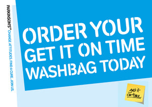 Get It On Time washbag promotional postcard - Parkinson's shop