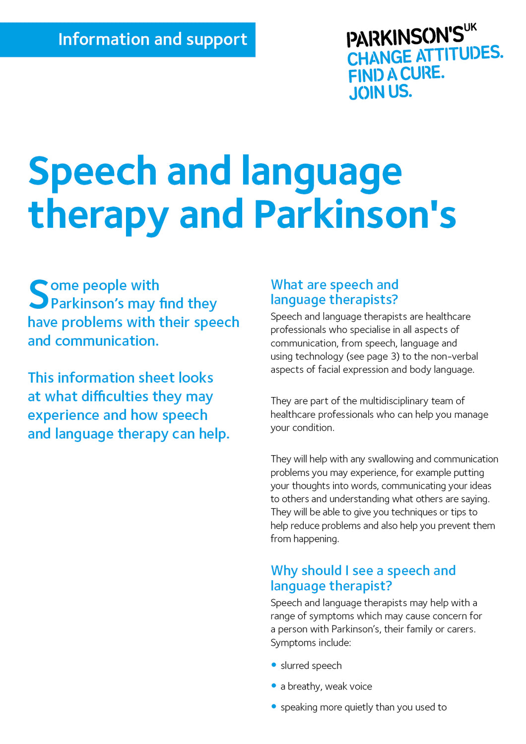 Speech and language therapy and Parkinson's - Parkinson's shop