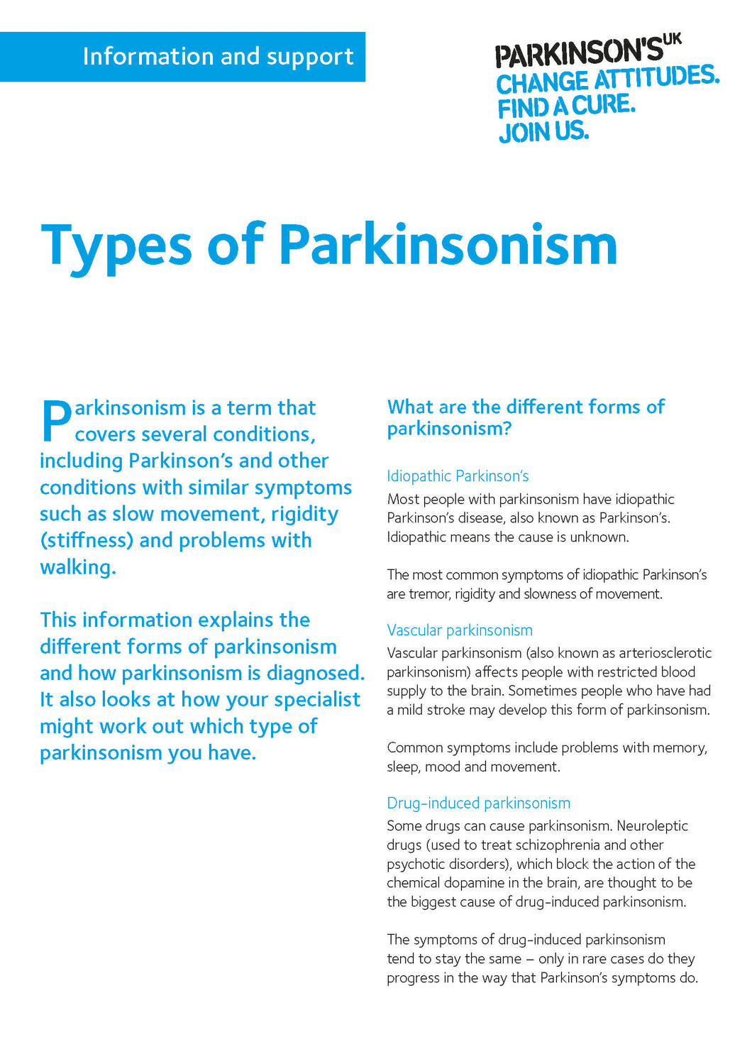 Types of Parkinsonism