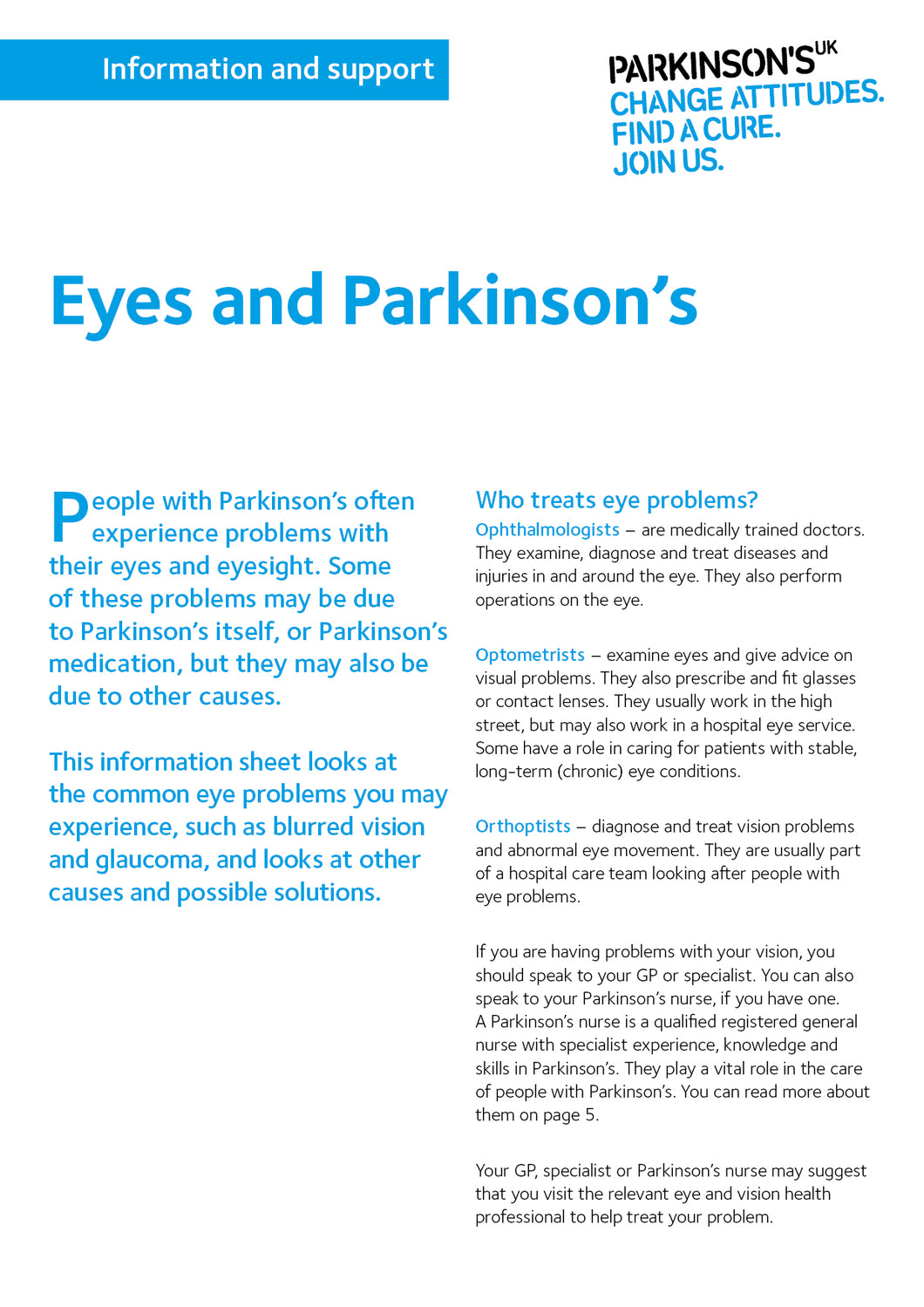 Eyes and Parkinson's - Parkinson's shop