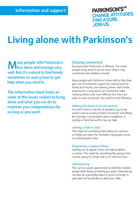 Living alone with Parkinson's - Parkinson's shop