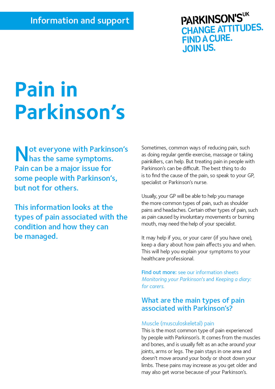 Pain in Parkinson's - Parkinson's shop