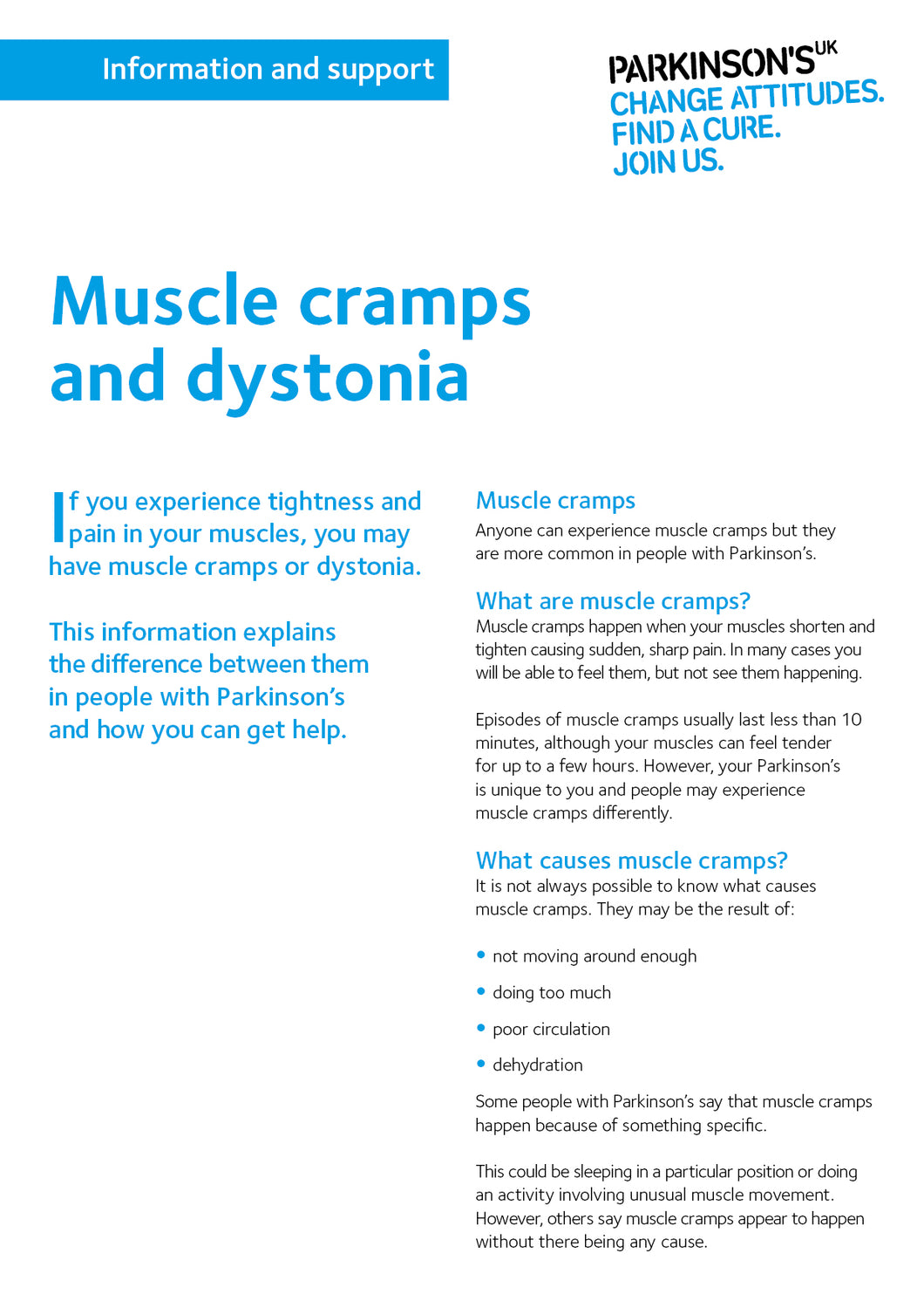 Muscle cramps and dystonia - Parkinson's shop
