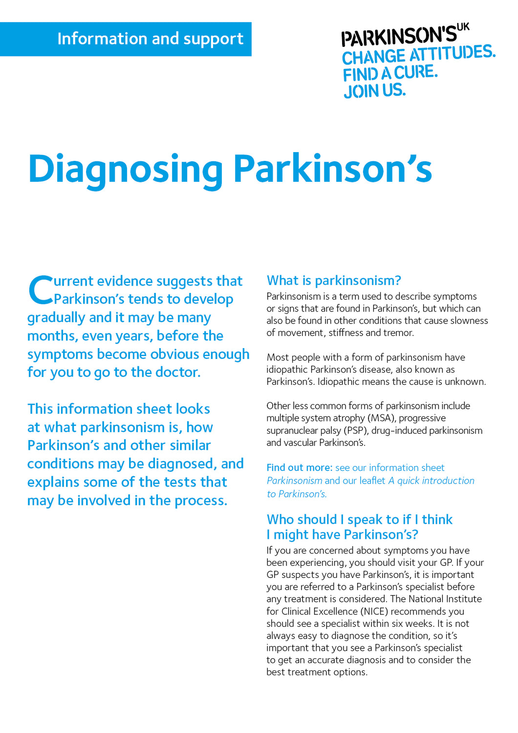 Diagnosing Parkinson's - Parkinson's shop