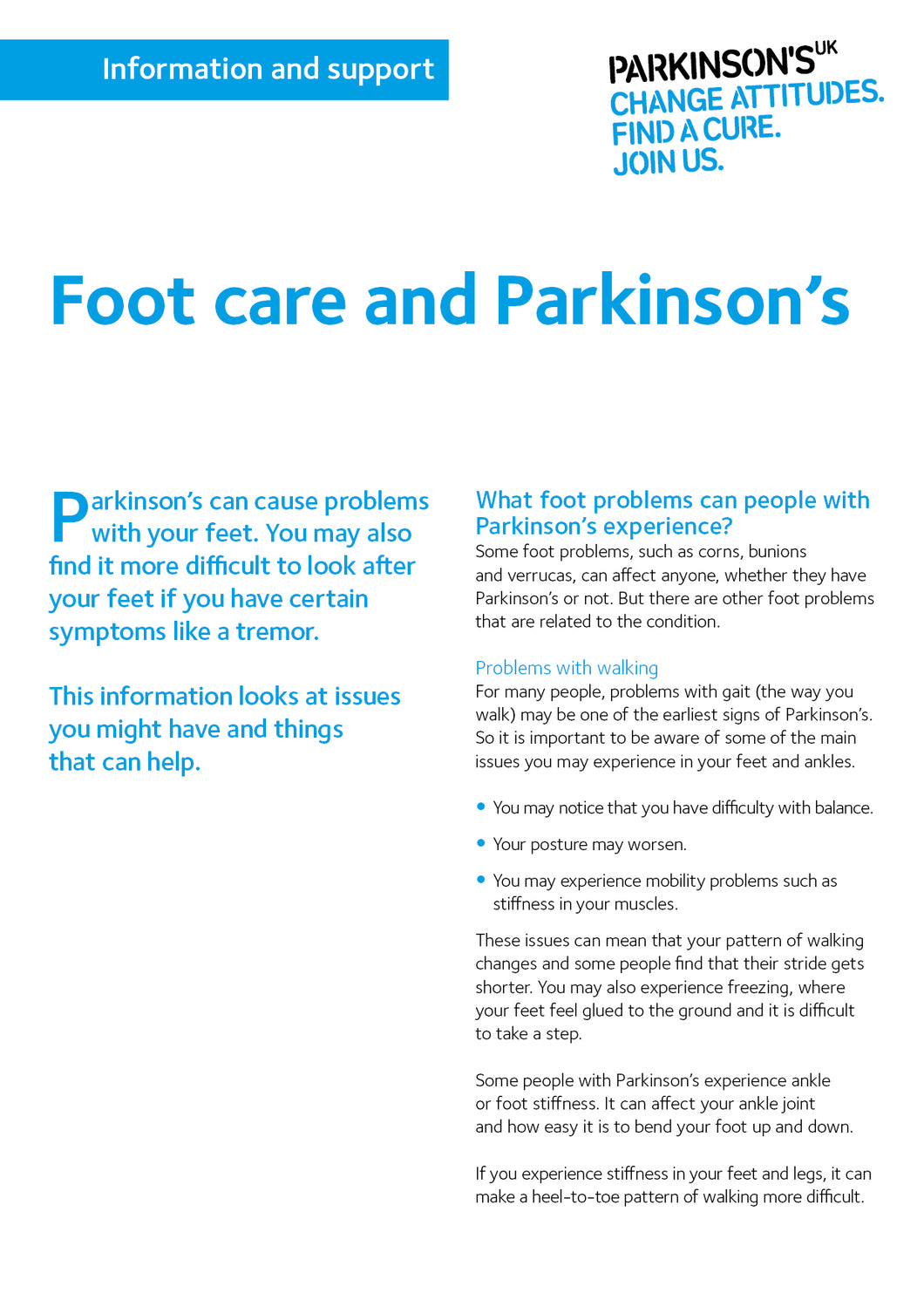 Foot care and Parkinson's - Parkinson's shop