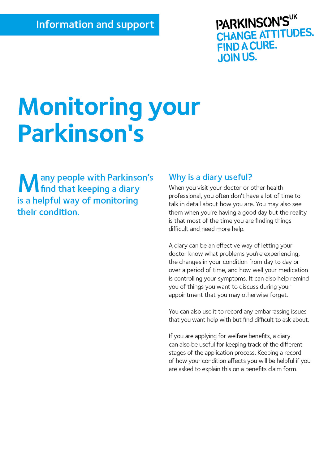 Monitoring your Parkinson's - Parkinson's shop