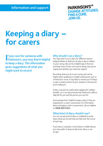 Keeping a diary - for carers - Parkinson's shop