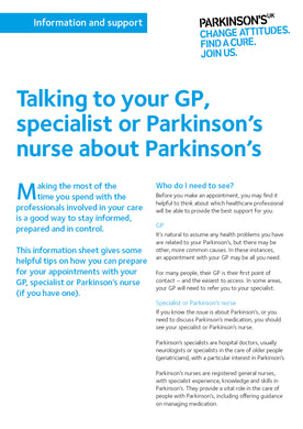Talking to your GP, specialist or Parkinson's nurse about Parkinson's - Parkinson's shop