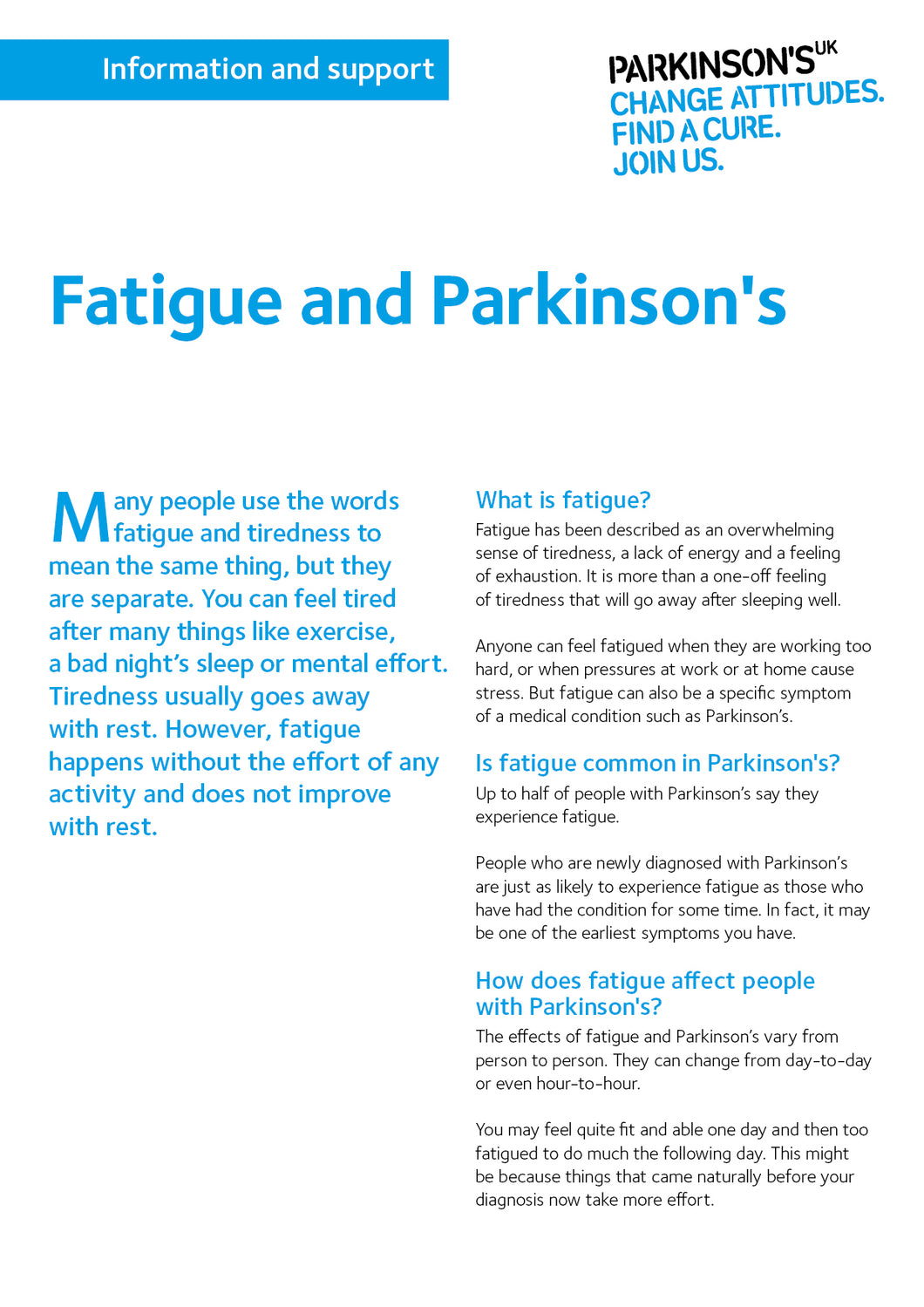 Fatigue and Parkinson's - Parkinson's shop