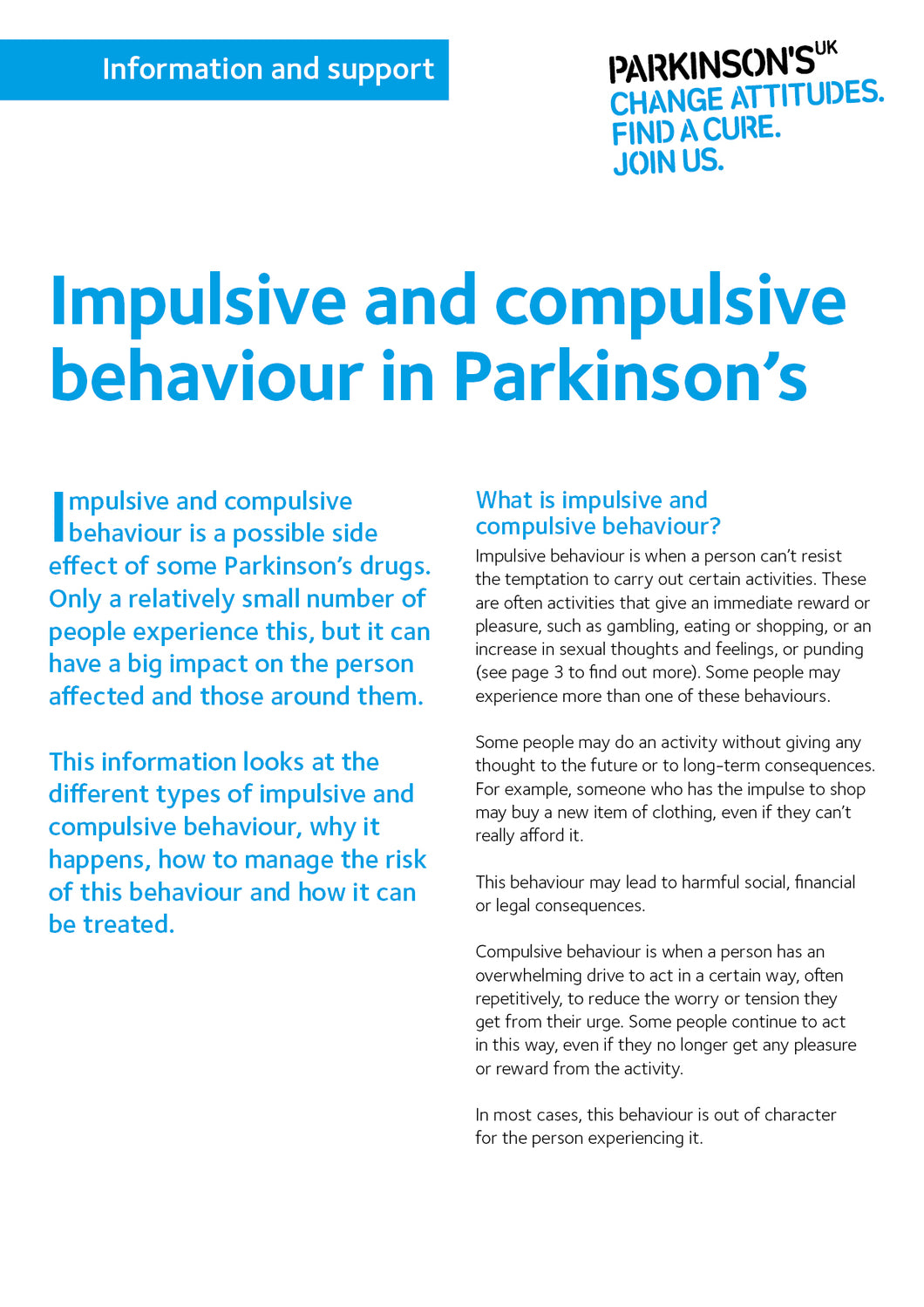 Impulsive and compulsive behaviour in Parkinson's - Parkinson's shop