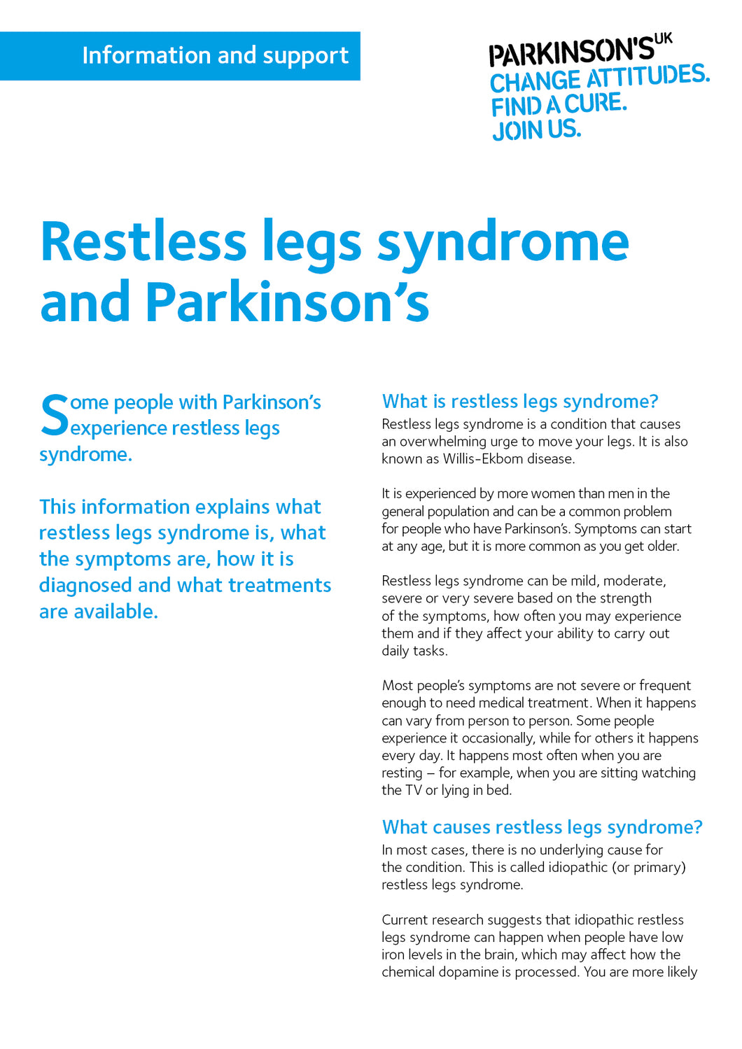 Restless legs syndrome and Parkinson's - Parkinson's shop