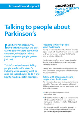 Talking to people about Parkinson's - Parkinson's shop
