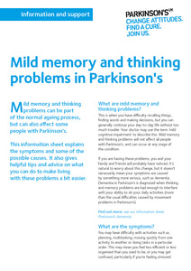 Mild memory and thinking problems in Parkinson's - Parkinson's shop