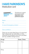 Parkinson's medication card - Parkinson's shop