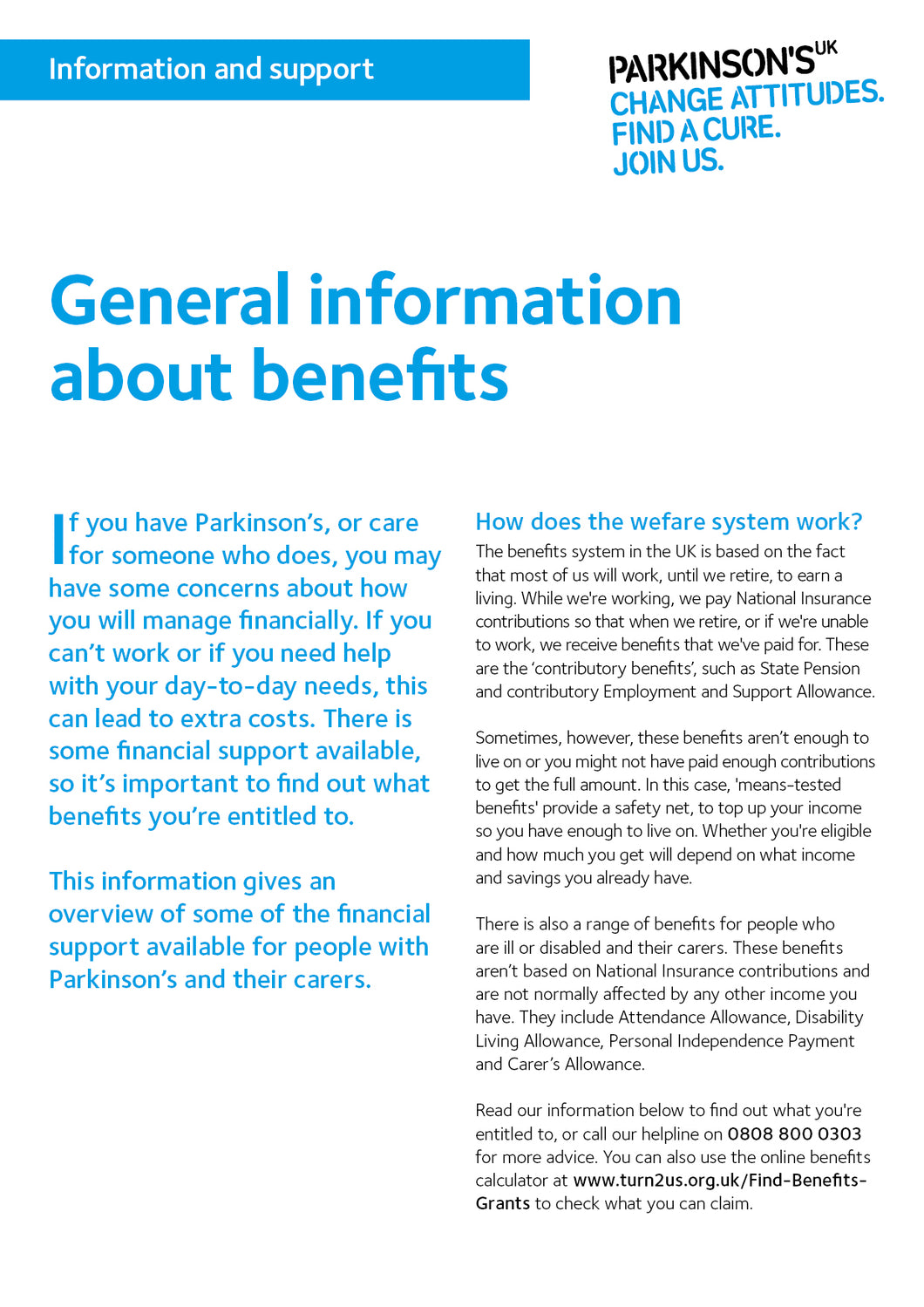 General information about benefits - Parkinson's shop