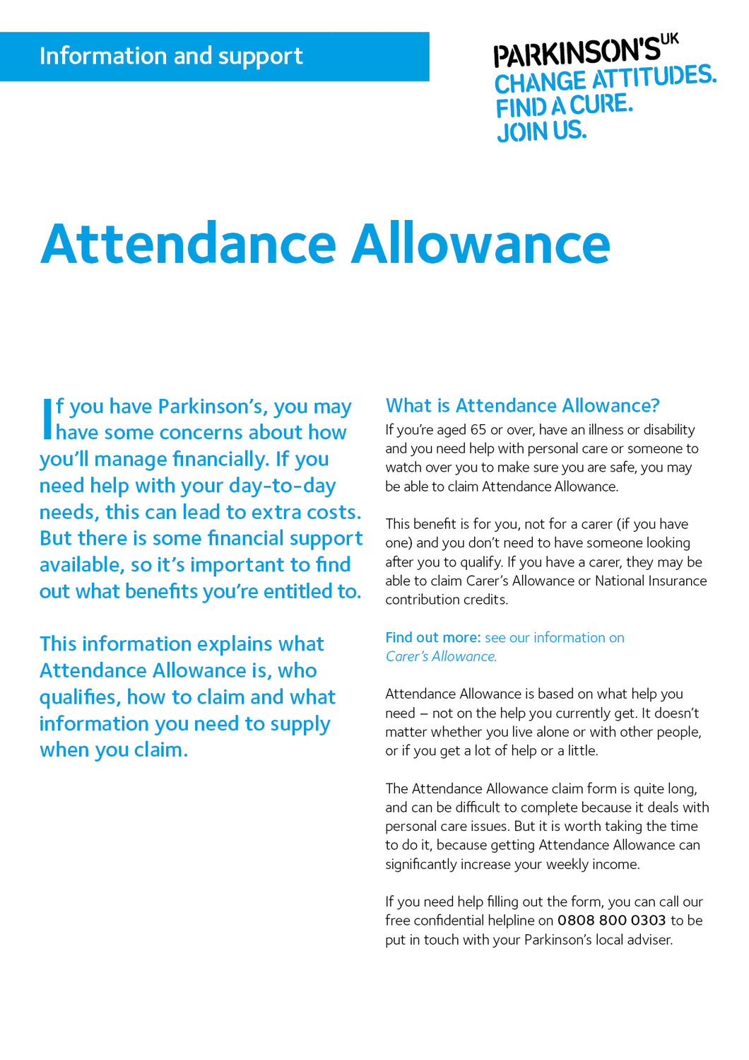 Attendance Allowance - Parkinson's shop