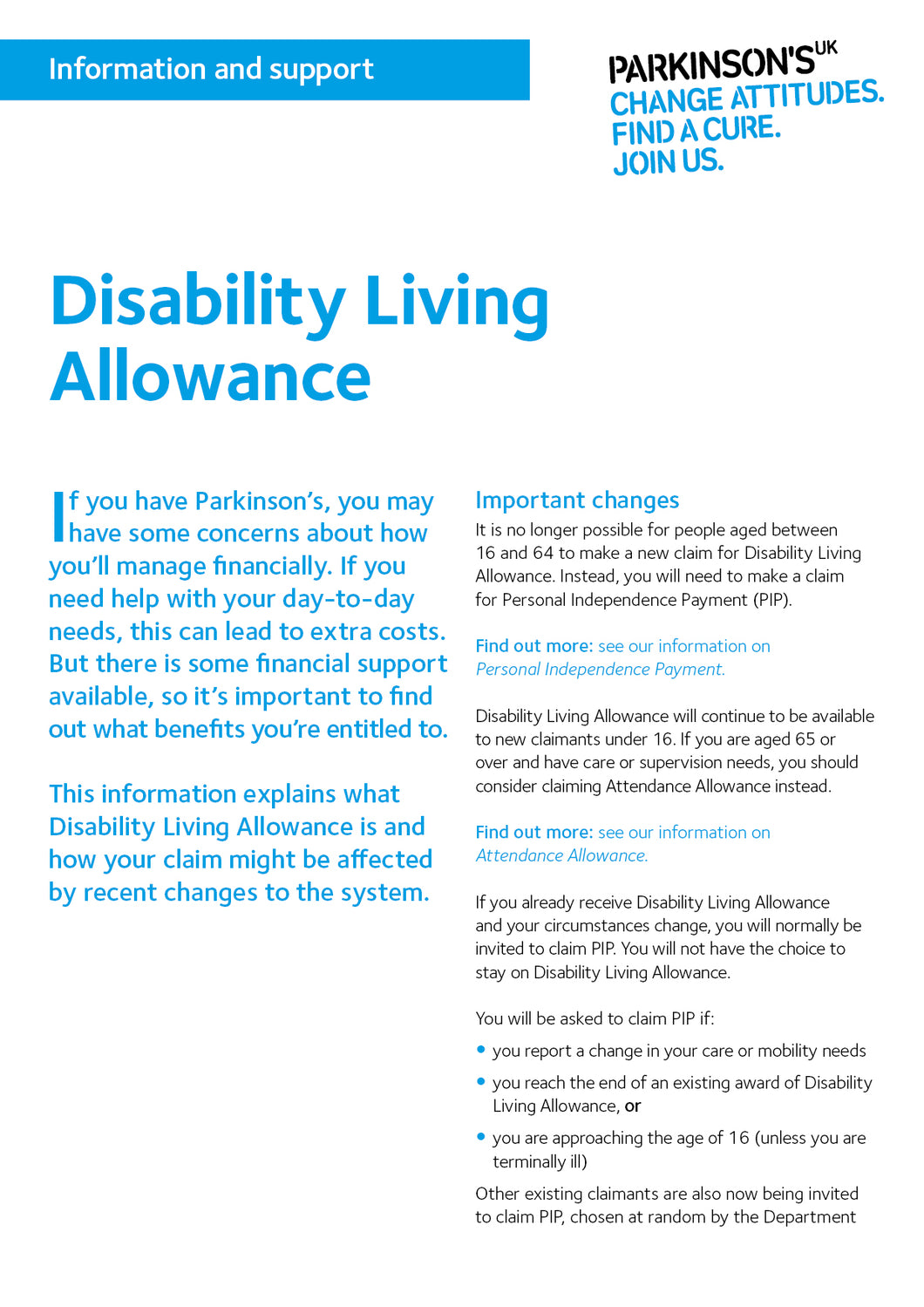 Disability Living Allowance - Parkinson's shop